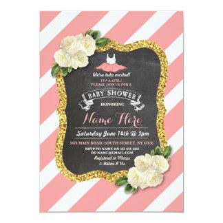Girl Tutu Ballet Coral Stripe Baby Shower Invite