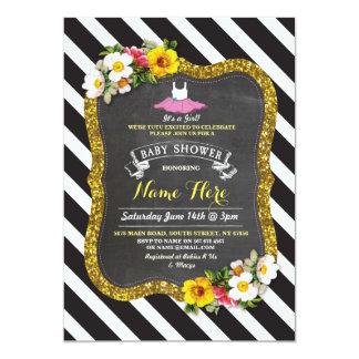 Girl Tutu Ballet Yellow Stripe Baby Shower Invite