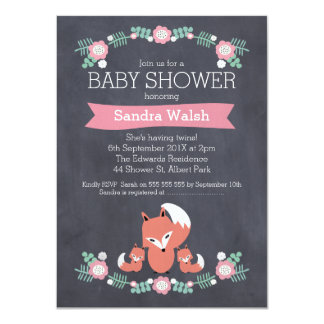 Girl Twins Fox Baby Shower Invitation