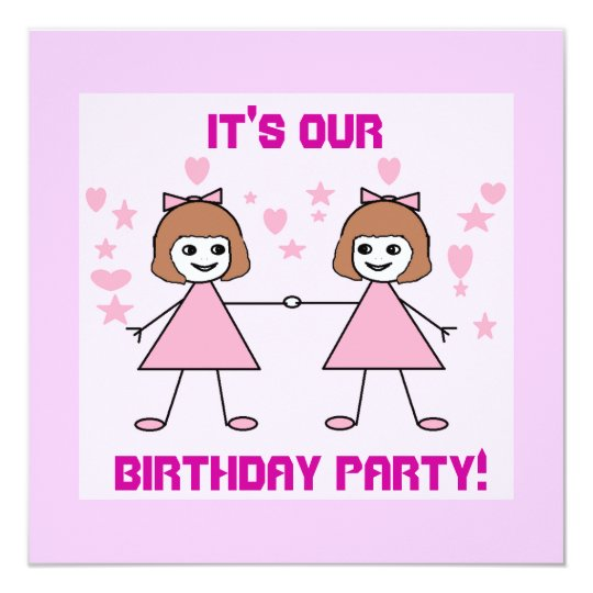 Girl twins, It's our, Birthday Party! Card