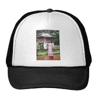 Girl Umbrella Asian Rain Woman Cap