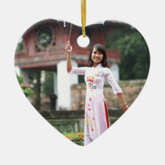 Girl Umbrella Asian Rain Woman Ceramic Heart Decoration