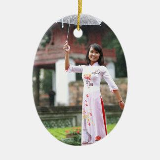 Girl Umbrella Asian Rain Woman Christmas Ornament