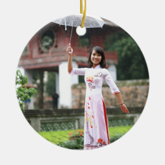Girl Umbrella Asian Rain Woman Round Ceramic Decoration