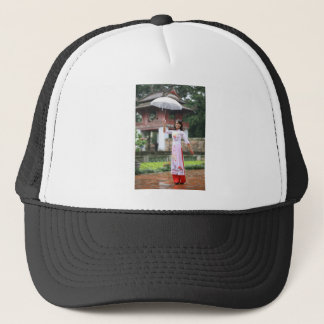 Girl Umbrella Asian Rain Woman Trucker Hat