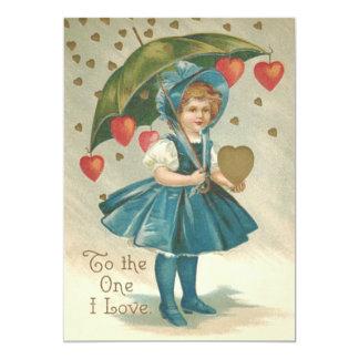 Girl Umbrella Heart Rain Wedding Invitation