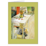 Girl Under a Kitchen Table Greeting Cards