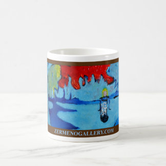 """Girl Under A Red Blue Sky"" BROWN Wrap Around Classic White Coffee Mug"
