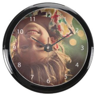 Girl Upside Down Smiling Child Kids Play Aquarium Clocks