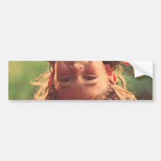 Girl Upside Down Smiling Child Kids Play Bumper Sticker