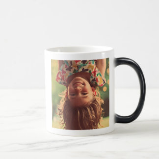 Girl Upside Down Smiling Child Kids Play 11 Oz Magic Heat Color-Changing Coffee Mug