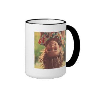Girl Upside Down Smiling Child Kids Play Ringer Mug