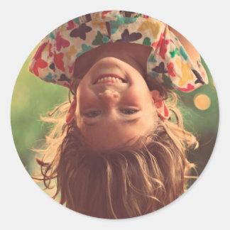 Girl Upside Down Smiling Child Kids Play Round Sticker