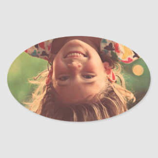 Girl Upside Down Smiling Child Kids Play Oval Sticker