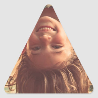 Girl Upside Down Smiling Child Kids Play Triangle Sticker