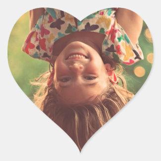 Girl Upside Down Smiling Child Kids Play Heart Sticker