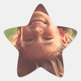 Girl Upside Down Smiling Child Kids Play Star Sticker