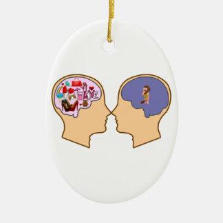 Girl V Guy funny design - Customisable Ceramic Oval Decoration