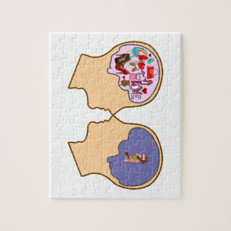 Girl V Guy funny design - Customisable Jigsaw Puzzle