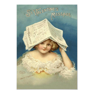 Girl Valentine Newspaper 13 Cm X 18 Cm Invitation Card