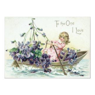 Girl Violets Sailboat Sea 13 Cm X 18 Cm Invitation Card