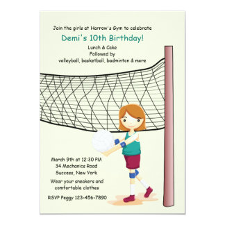 Girl Volleyball Player Birthday Party Invitations