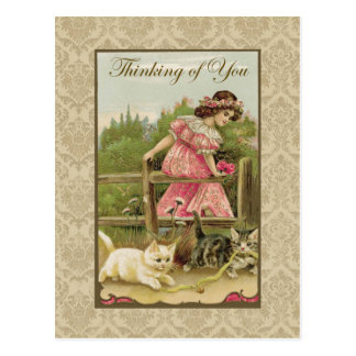 Girl w/ Cats Thinking of You Vintage Reproduction Postcard
