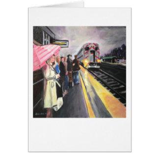 """Girl w/the Pink Umbrella/Caltrain"" by Trina Chow Card"