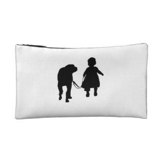 Girl Walking Dog Cosmetic Bag