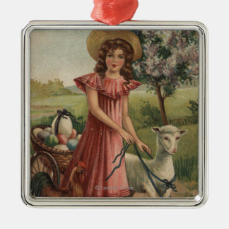 Girl Walking Lamb, Chick, and Rooster Christmas Ornament