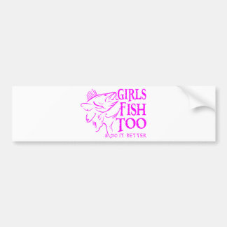 GIRL WALLEYE FISHING BUMPER STICKER