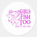 GIRL WALLEYE FISHING CLASSIC ROUND STICKER