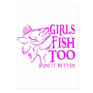 GIRL WALLEYE FISHING POSTCARD