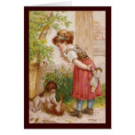 Girl Watches Dog Cat Antics Greeting Card