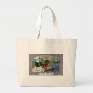 Girl Wheelbarrow and Dock Art Nouveau Birthday Bags