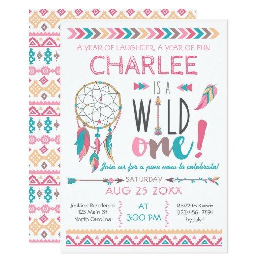 Girl Wild One Tribal Birthday Boho Invitation