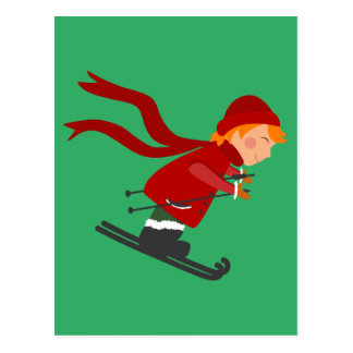 Girl Winter Snow Skiing Postcard