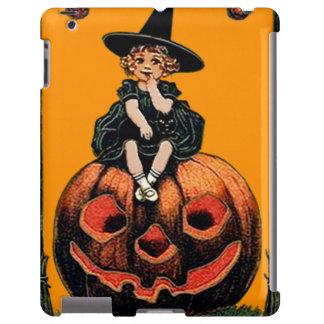 Girl Witch Smiling Jack O' Lantern Black Cat iPad Case