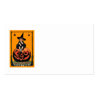 Girl Witch Smiling Jack O' Lantern Black Cat Pack Of Standard Business Cards