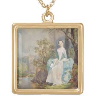 Girl with a Book Seated in a Park, c.1750 (oil on Square Pendant Necklace
