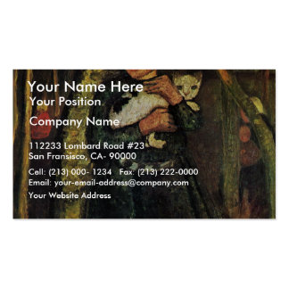 Girl With A Cat In The Birch Forest By Modersohn- Double-Sided Standard Business Cards (Pack Of 100)