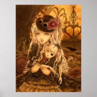 Girl with a Doll Dark Steampunk Fantasy Art Print