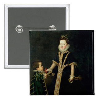 Girl with a dwarf, thought to be a portrait 15 cm square badge