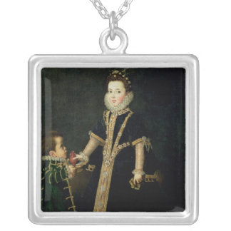 Girl with a dwarf, thought to be a portrait silver plated necklace