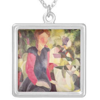 Girl with a Fish Bowl, 20th century Silver Plated Necklace