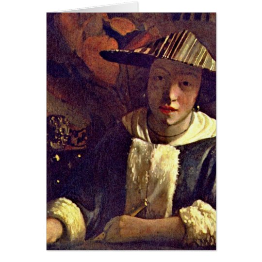 Girl With A Flute By Johannes Vermeer Card