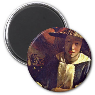 Girl With A Flute,  By Vermeer Van Delft Jan 6 Cm Round Magnet