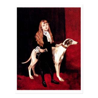 Girl With a Greyhound Postcard