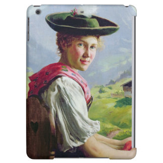 Girl with a Hat in Mountain Landscape