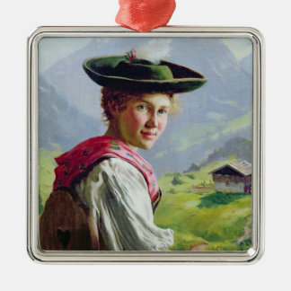 Girl with a Hat in Mountain Landscape Christmas Ornament